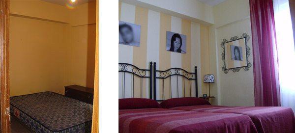 Una de las habitaciones. De nuevo pintada a rayas para dar más luz.