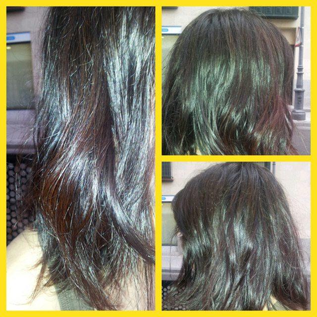 resultado de hacer la permanente en un pelo teñido con henna
