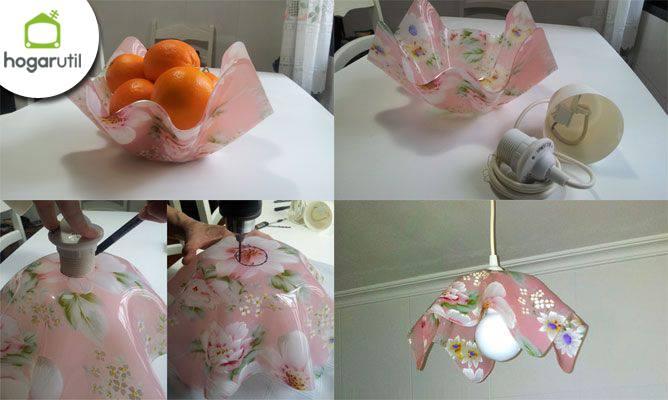 hacer una lampara con un frutero de plastico