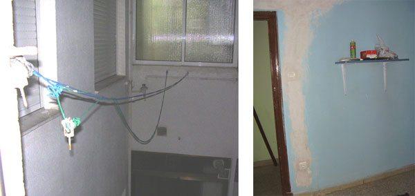 Estado de las cuerdas de tender cuando llegamos al piso. Y foto de tooodos los enchufes de nuestra habitación.