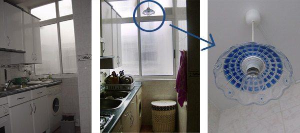La cocina era en L, y en ese rincón no había luz, por lo que había que fregar prácticamente a oscuras. Pusimos un punto de luz con un interruptor diferente, y mi madre hizo una falsa lámpara Tiffanny con un frutero de plástico, también en tonos azules para que combinara con el resto de la cocina.