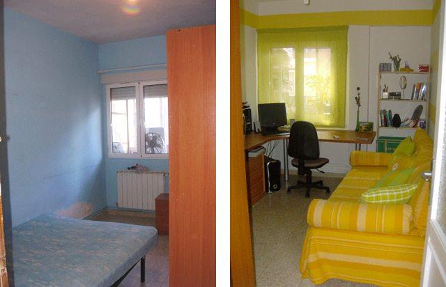 Una de las habitaciones, que utilizamos como estudio. Mi madre compró dos colchas amarillas para la cama de 90. Una de ellas la usó para hacer cojines grandes a modo de respaldo y reposa-brazos, para que la cama pareciera un sofá, y poder usarla de las dos maneras.