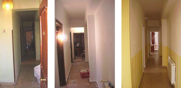 Pasillo principal. Cuando llegamos era muy oscuro, estrecho y se comía toda la luz. Después de pintarlo parecía más ancho (efecto de pintar un zócalo) y muchísimo más luminoso (por las rayas verticales amarillas, que tienen ese efecto con la luz)