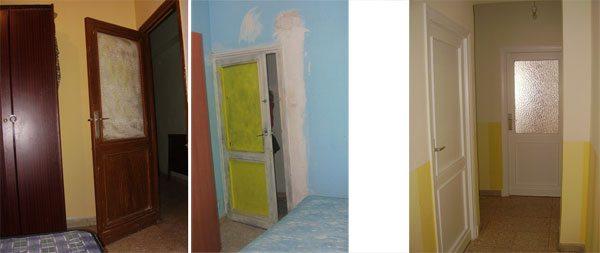 Estado de las puertas: antes y después de que cogiéramos el piso.