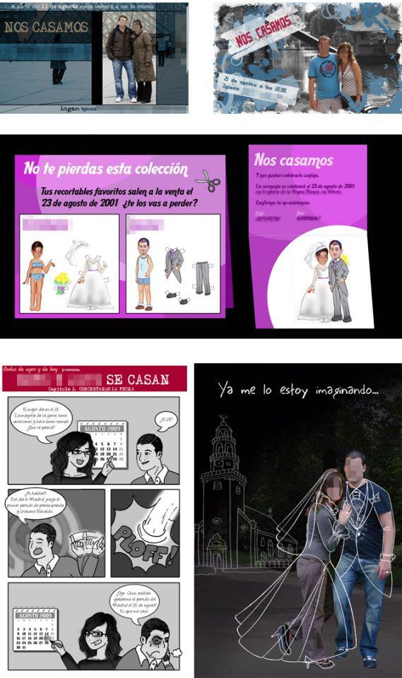 bocetos invitaciones boda originales y divertidas